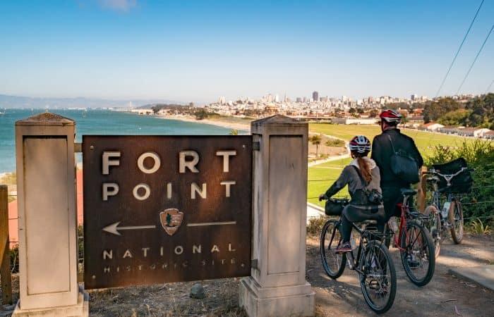 electric SF bike tour Golden Gate Bridge at Fort Point Presidio