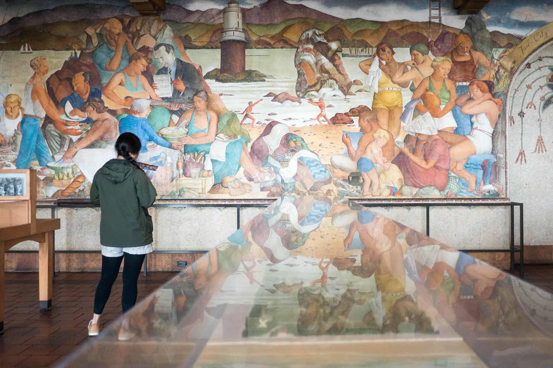 WPA frescos at the Beach Chalet