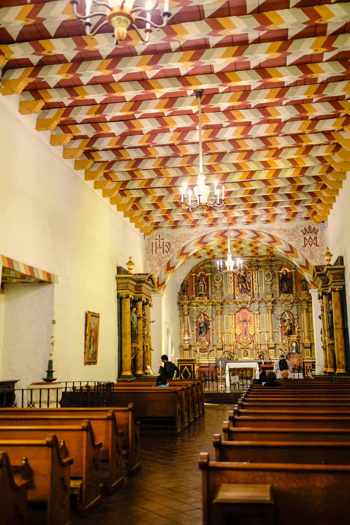Mission Dolores San Francisco old chapel interior looking toward altar