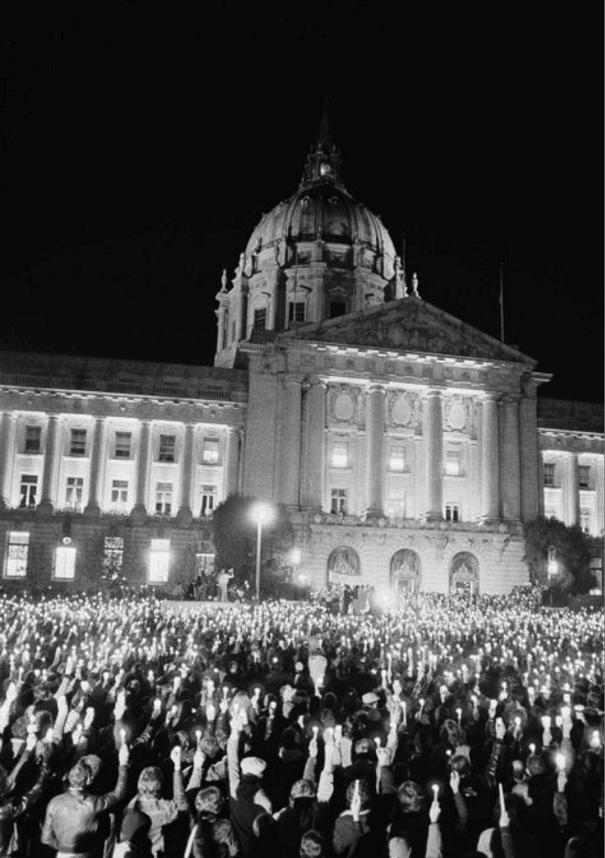 City Hall San Franciso Vigil after the murder of Harvey Milk