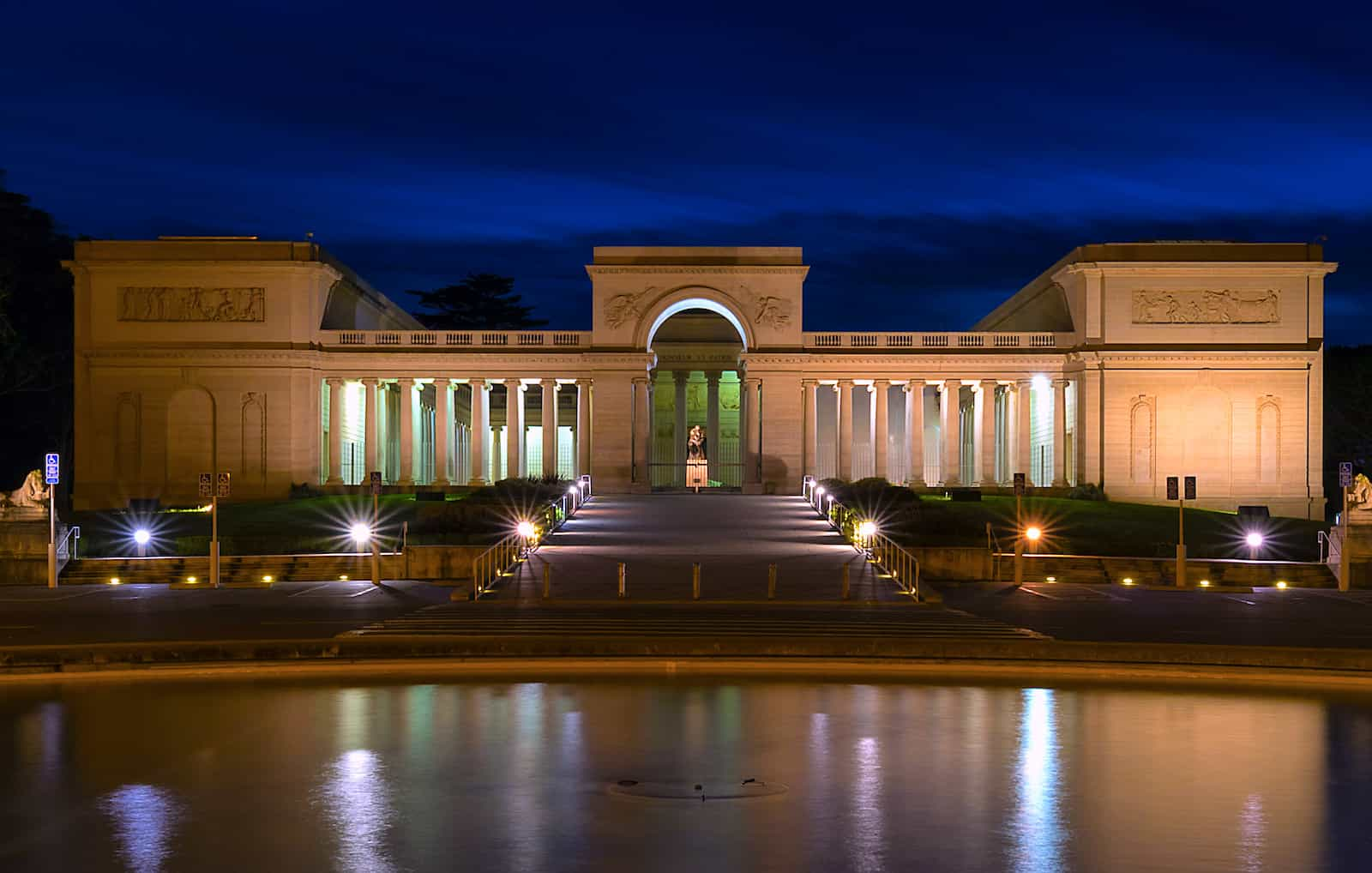 Legion of Honor Museum exterior overview at night