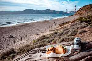 Enjoy a glorious picnic at Baker Beach (SF's best Bahn Mi sandwich and beer recommended!)